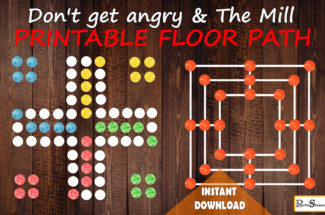 Don't get angry & The Mill game in printable floor path, Floor decals for games