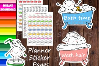 SHOWER, BATH Time & Wash HAIR Planner Sticker Pages,Printable Happy stickers