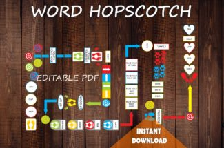 WORD Floor Path Set / Printable floor design for school, Words hopscotch