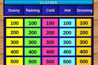 Clothes. Present Continuous (game Jeopardy, presentation)