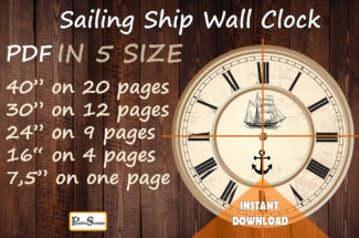 Sailing Ship Wall Clock, Printable Wall decal, Make a large sticker for wall